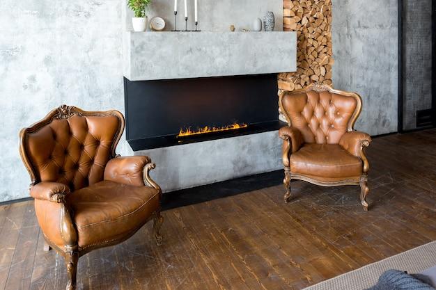 Appartamento di lusso in stile loft dai colori scuri. elegante camera da letto moderna