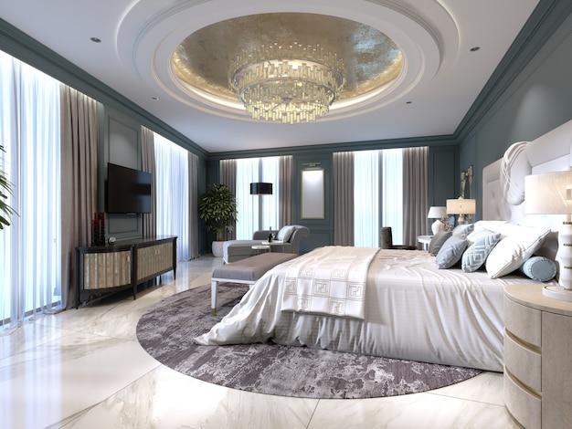 Appartamenti di lusso con camera da letto e zona giorno in stile contemporaneo con elementi classici, pareti blu e mobili chiari. rendering 3d