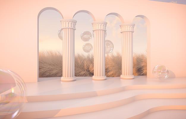 Scena autunnale di lusso con forme geometriche e bolle