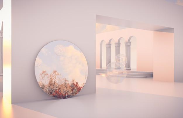 Scena autunnale di lusso con forme geometriche e specchio