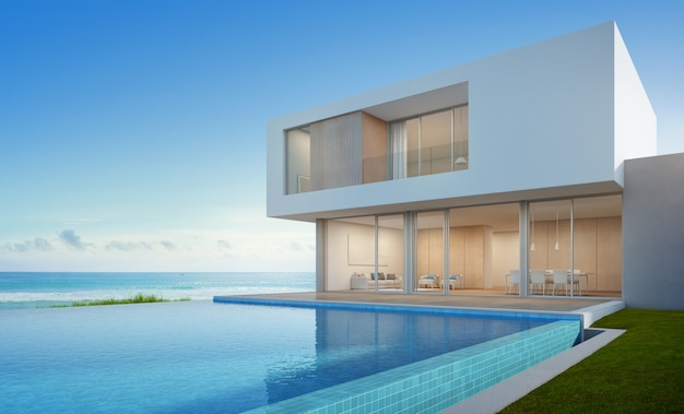 Casa sulla spiaggia di lusso con piscina vista mare dal design moderno.