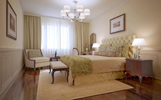 Camera da letto di lusso in stile inglese e camera da letto tradizionale con pareti monotone e pavimenti in legno scuro