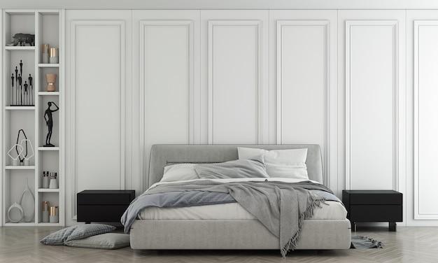 Interni di lusso della camera da letto e fondo bianco del modello della parete wall