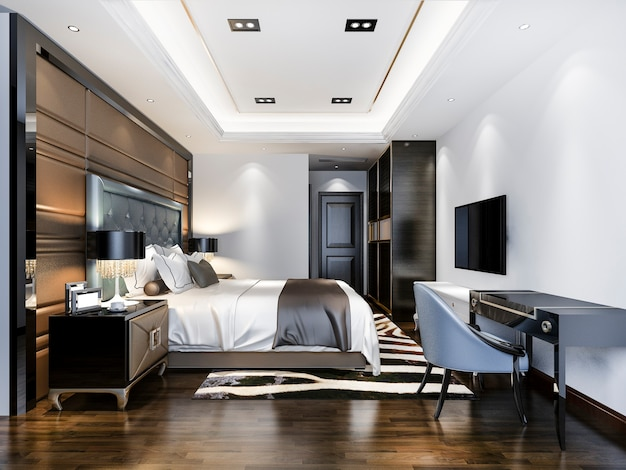 Suite camera da letto di lusso in hotel con tv e tavolo da lavoro
