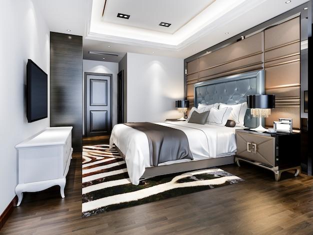 Camera da letto di lusso in hotel con tv e tavolo da lavoro