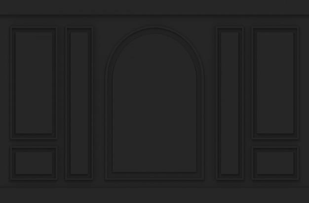 Sfondo di parete in legno vintage design modello classico nero di lusso.