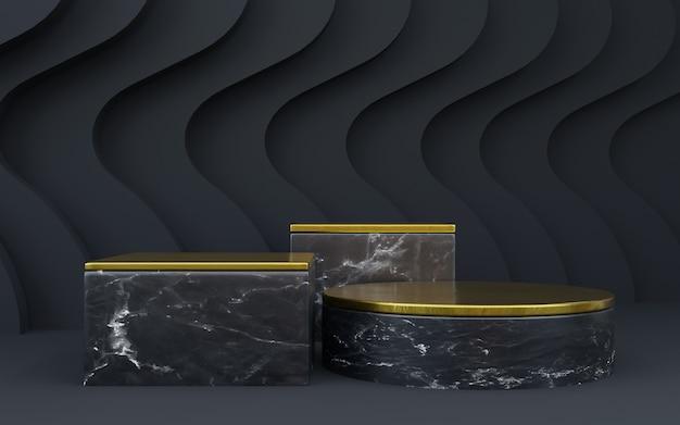 Sfondo geometrico nero di lusso con tre livelli per presentazioni di prodotti. rappresentazione 3d.