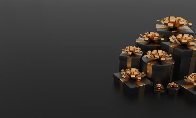 Scatole regalo nere di lusso con sfondo di nastro d'oro regali per la festa di compleanno di natale copia spazio