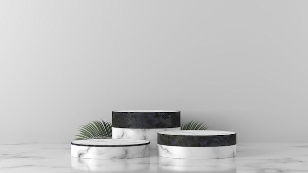 Cilindro in marmo bianco e nero di lusso