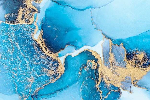 Fondo astratto blu di lusso della pittura di arte dell'inchiostro liquido di marmo su carta.