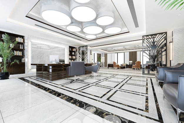 Riunione d'affari di lusso e sala di lavoro nell'ufficio esecutivo