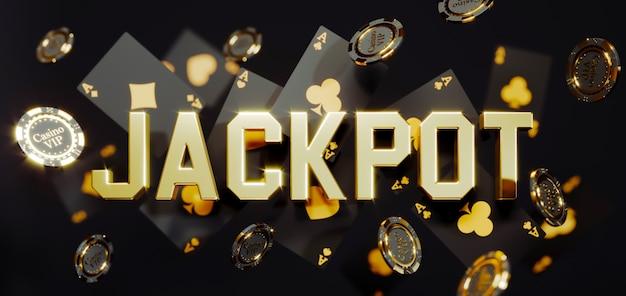 Fiches e carte dorate del casinò di lusso con il segno 3d del jackpot. fiches da poker che cadono foto premium