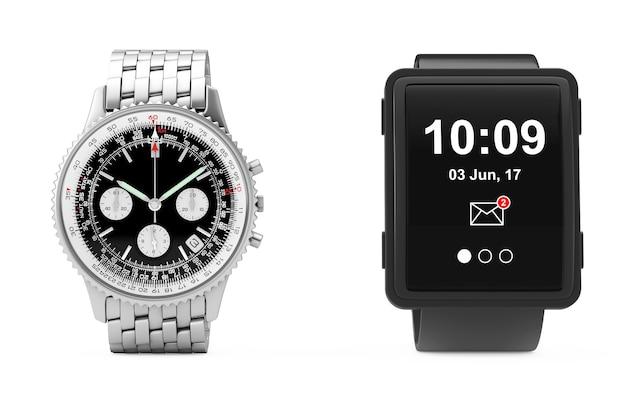 Orologio da polso in argento da uomo analogico classico di lusso con grande orologio intelligente concettuale su sfondo bianco. rendering 3d