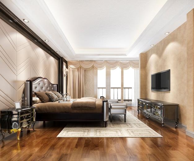 Suite di camera da letto moderna classica di lusso in hotel