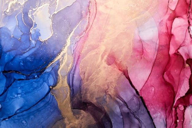 Fondo astratto variopinto di lusso nella tecnica dell'inchiostro dell'alcool, struttura di marmo della pittura liquida dorata, macchie acriliche sparse e macchie vorticose, materiali stampati