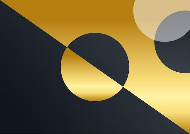 Sfondo aziendale di lusso, decorazione astratta, motivo dorato, sfumature di mezzitoni, illustrazione vettoriale 3d. modello di copertina in oro nero, forme geometriche, banner business minimal moderno