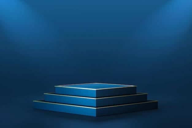 Palcoscenico per sfondi di prodotti blu scuro di lusso o piedistallo per podio vincitore su presentazione di eleganza con fondali luminosi. rappresentazione 3d.