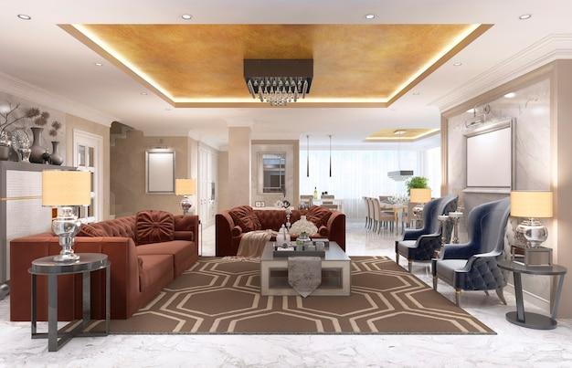 Appartamento-studio di design di lusso in stile art déco. zona giorno che si fonde armoniosamente con la sala da pranzo e la cucina. il soffitto dorato e il pavimento in marmo bianco. rendering 3d.