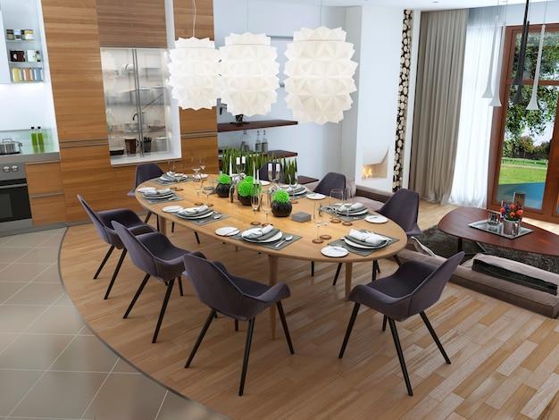 Sala da pranzo di lusso in stile contemporaneo con un grande tavolo da pranzo per otto persone