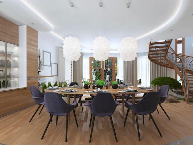 Sala da pranzo di lusso in stile contemporaneo con un grande tavolo da pranzo
