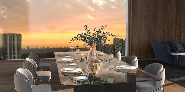 Sala da pranzo di lusso con luce solare e panorama della città sfondo 3d rendering illustrazione interior design