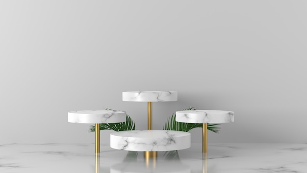 Podio di marmo bianco di lusso quattro vetrina del podio e foglie di palma nel fondo bianco