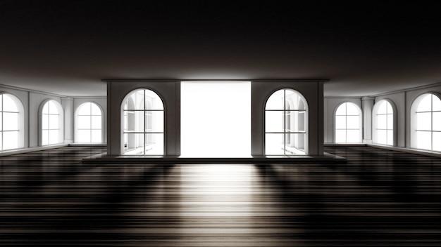 Interni vuoti di lusso cupo. rendering 3d.