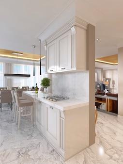 Cucina di lusso con mobili opalini in stile art déco. con bar per la colazione e sgabelli da bar. elettrodomestici da cucina da incasso. rendering 3d.