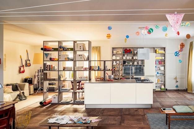 Soggiorno di lusso, sala da pranzo e interni della cucina