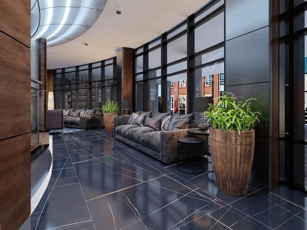 Ingresso lobby di lusso con area lounge in hotel. rendering 3d