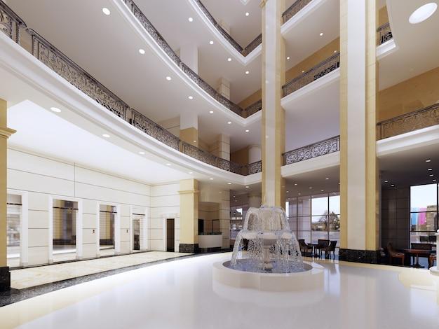 Interni di lusso nella hall. rendering 3d