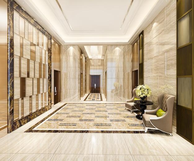 Lobby di lusso con poltrona vicino al corridoio