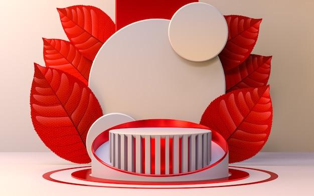 Look di lusso display podio metallico rosso con foglie 3d rendering prodotto spazio vuoto sfondo