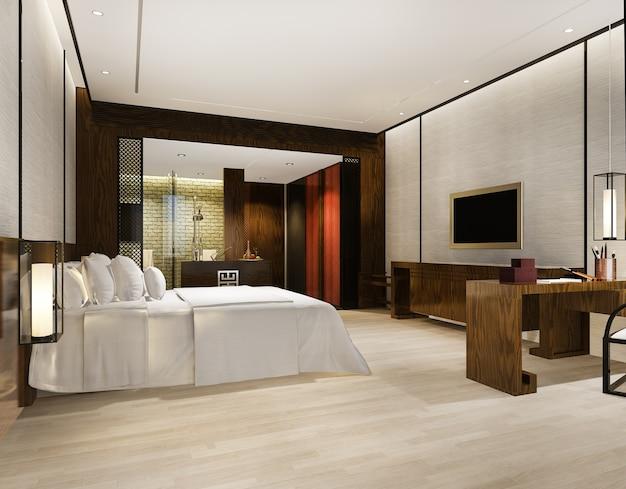 Lussuosa suite moderna in hotel con decorazioni in stile asiatico
