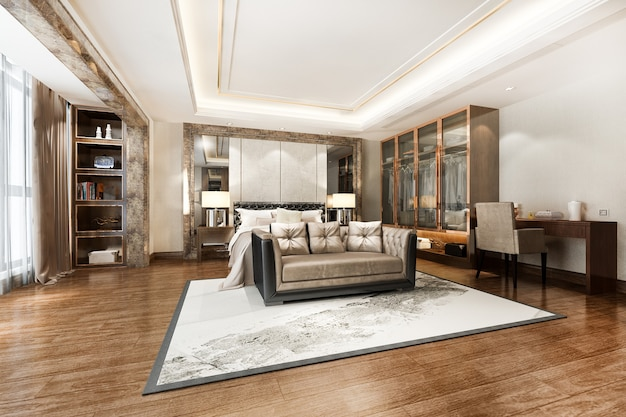 Suite di lusso moderna camera da letto tv con armadio e cabina armadio e tavolo da lavoro