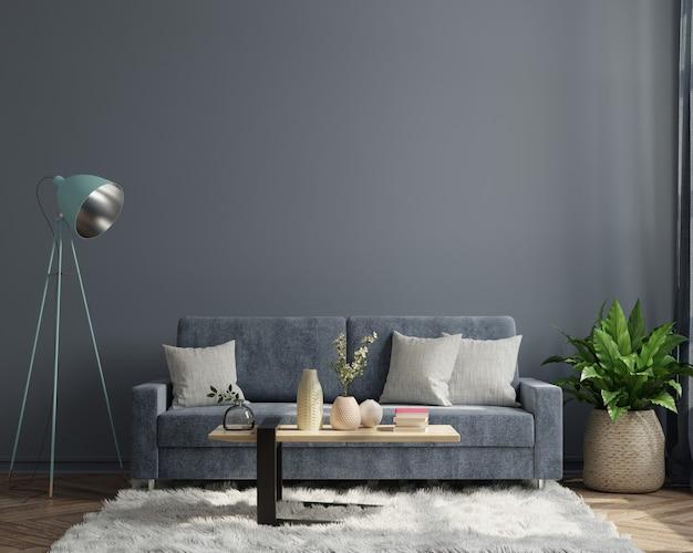 L'interno del soggiorno scuro moderno di lusso ha un divano sul fondo della parete scura vuota. rendering 3d