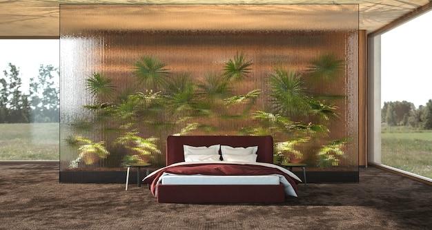 Camera da letto moderna di design di interni di lusso con illustrazione di rendering 3d di palme