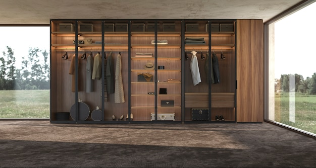 Lusso moderno design di interni grande armadio in legno con vestiti 3d rendering illustrazione