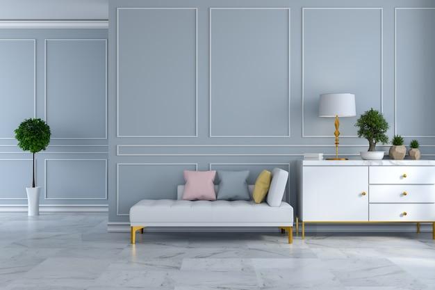 Il divano letto interno e di lusso della stanza moderna di lusso sulla parete grigio chiaro e sul pavimento / 3d di marmo rende