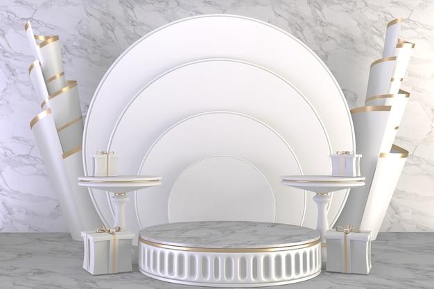 Podio di lusso in stile romano su bianco per prodotto spettacolo.