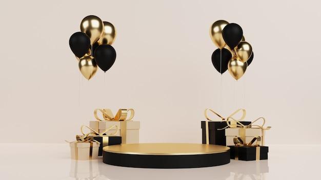 Podio di lusso con confezione regalo e palloncinon