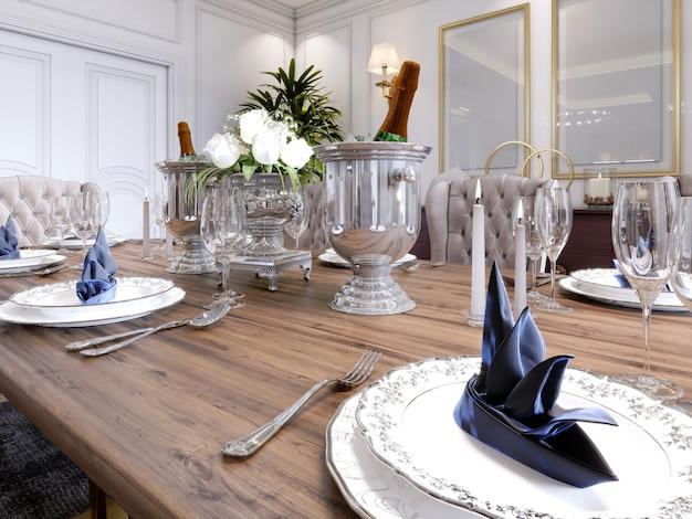 Tavolo servito di lusso nella sala da pranzo classica. rappresentazione 3d.