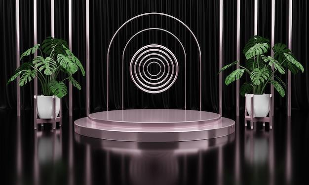Cerchio di marmo argento di lusso, blocco, podio quadrato con foglie verdi sullo sfondo della tenda nera