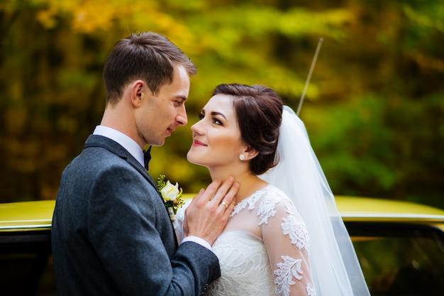 Giovani sposa e sposo alla moda di lusso sulla foresta verde soleggiata della molla del fondo