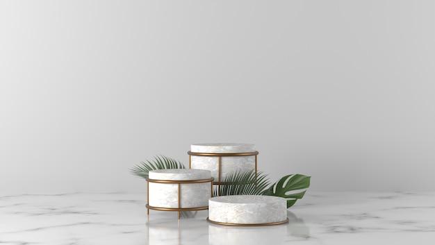 Podio e foglie di palma di lusso del cilindro di marmo bianco tre nel fondo bianco