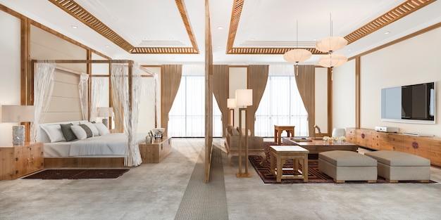 Suite da letto tropicale di lusso in hotel resort e resort in stile asiatico