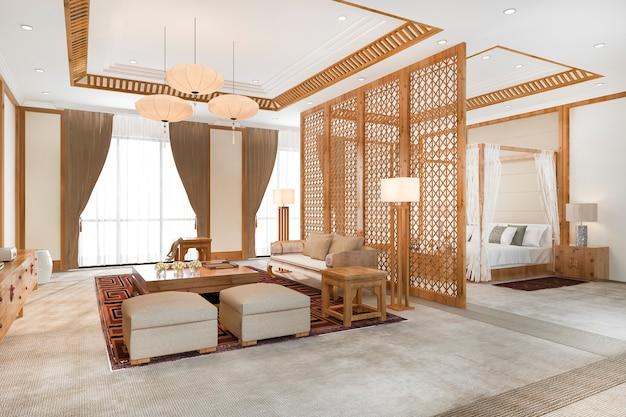 Suite di camera da letto tropicale di lusso in hotel resort e resort in stile asiatico