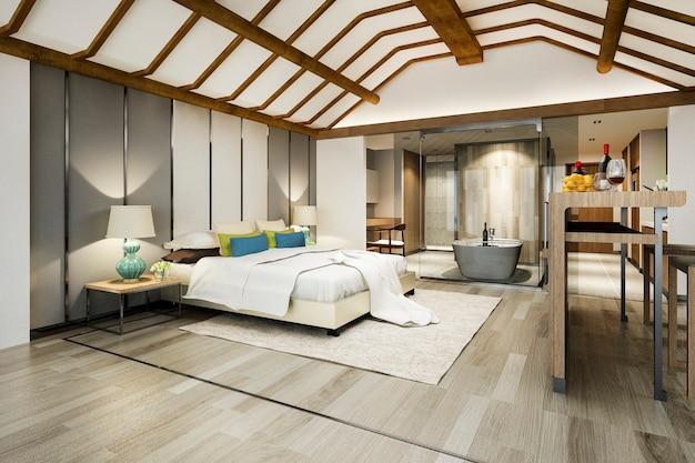 Suite di camera da letto tropicale di lusso in hotel resort e resort