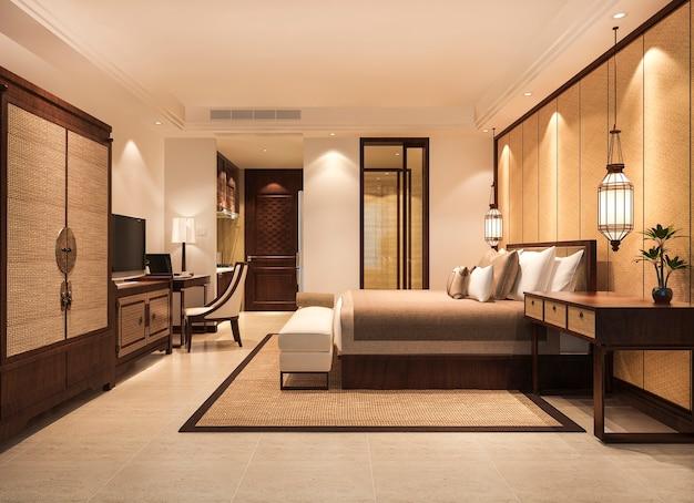 Suite camera da letto tropicale di lusso in hotel resort con guardaroba