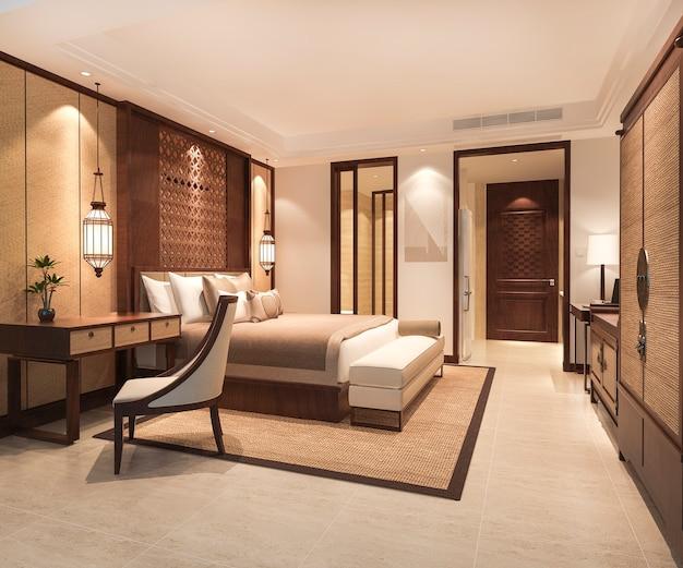 Suite di camera da letto tropicale di lusso in hotel resort con guardaroba